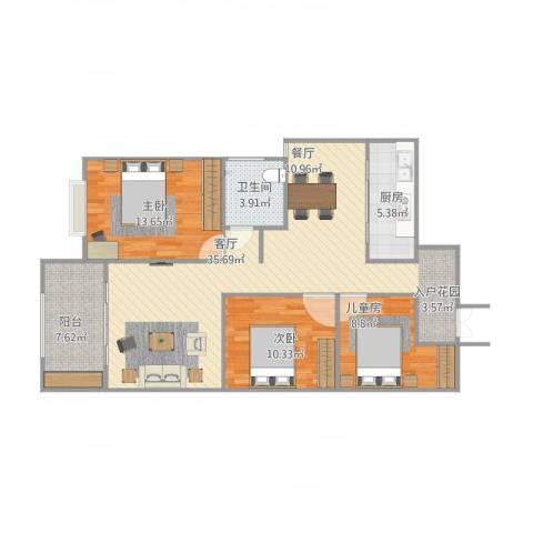 盛世华庭3室1厅1卫1厨116.00㎡户型图