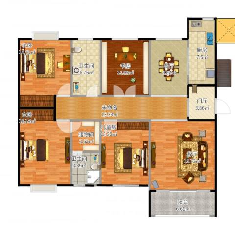 复地康桥4室2厅2卫1厨140.22㎡户型图