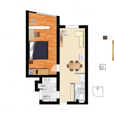 东方东路1室1厅1卫1厨67.00㎡户型图