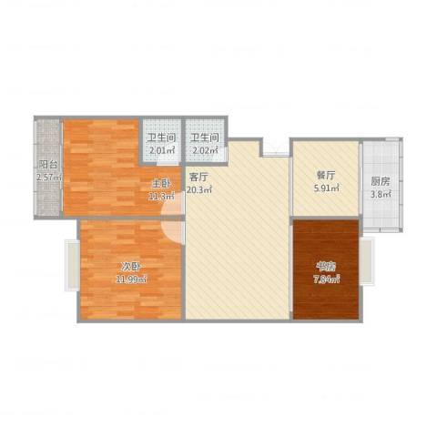魏县春光小区3室2厅2卫1厨92.00㎡户型图