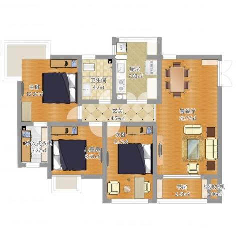 凯鑫华府4室2厅1卫1厨118.00㎡户型图