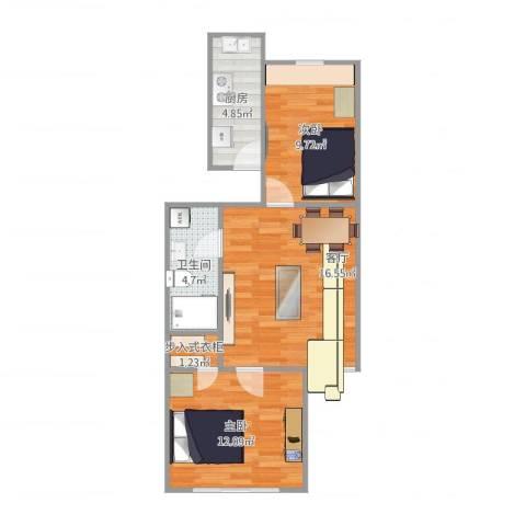 东方明珠小区2室1厅1卫1厨67.00㎡户型图