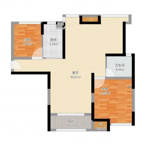 上海滩大宁城2室1厅1卫1厨116.00㎡户型图
