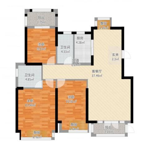 海投天湖城3室2厅2卫1厨138.00㎡户型图
