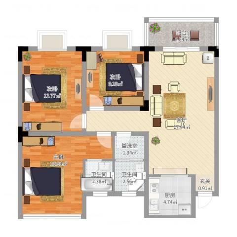 葛洪花园3室3厅2卫1厨119.00㎡户型图
