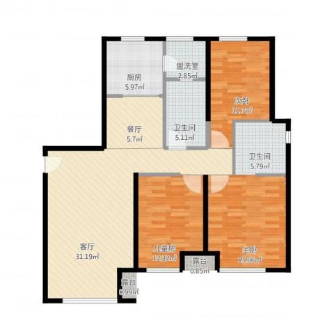 金地西沣公元3室4厅2卫1厨126.00㎡户型图