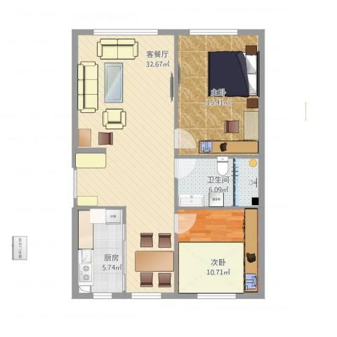 上城左岸2室2厅1卫1厨97.00㎡户型图