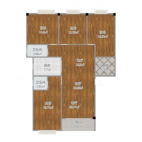 金沙雅苑A户4室1厅2卫2厨173.00㎡户型图