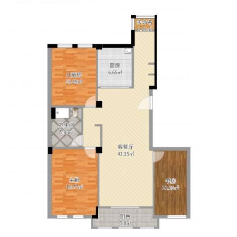 赛格特东城名苑3室2厅1卫1厨140.00㎡户型图