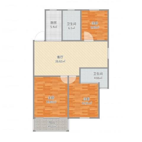 三塘桃园3室1厅2卫1厨114.00㎡户型图