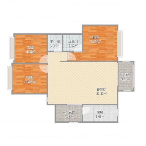 玮益上城华府3室2厅2卫1厨113.00㎡户型图