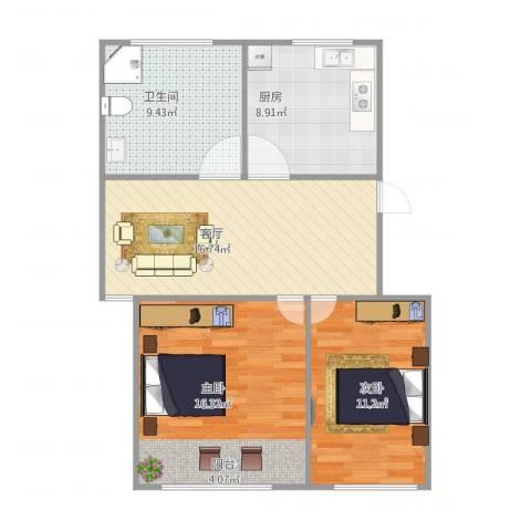 由由六村2室1厅1卫1厨84.00㎡户型图