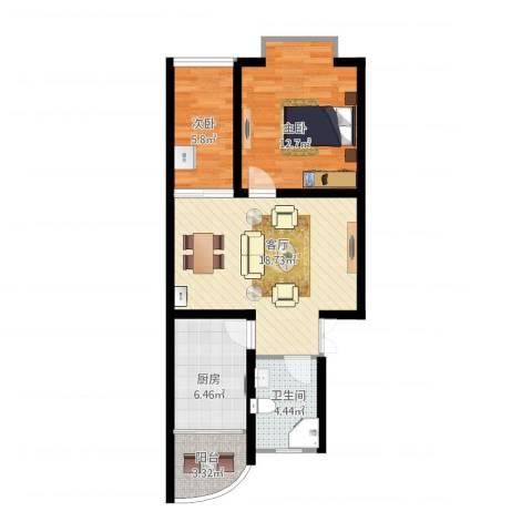 江浦南里2室1厅1卫1厨74.00㎡户型图