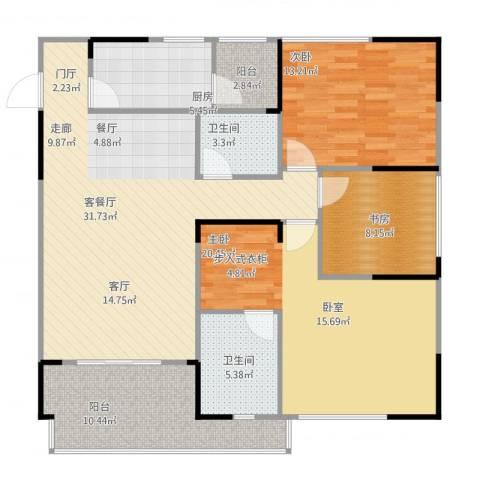 聚信广场3室2厅2卫1厨136.00㎡户型图