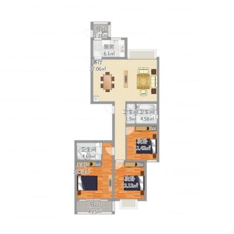 龙园小区3室1厅3卫1厨145.00㎡户型图