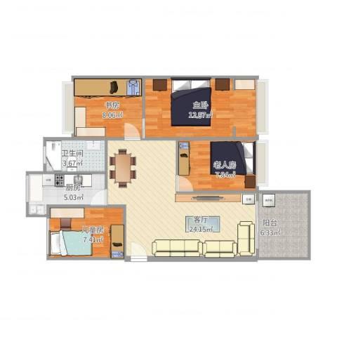 湖景花园4室1厅1卫1厨103.00㎡户型图