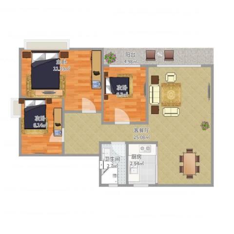 凯茵新城雅湖半岛1栋01、02单位3室2厅1卫1厨74.00㎡户型图
