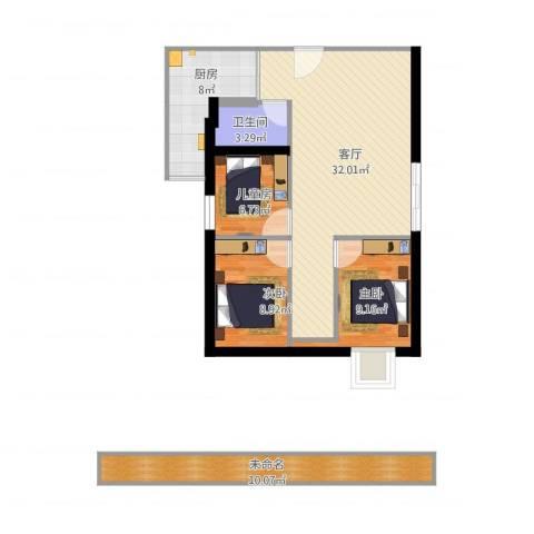 华港花园3室1厅1卫1厨112.00㎡户型图