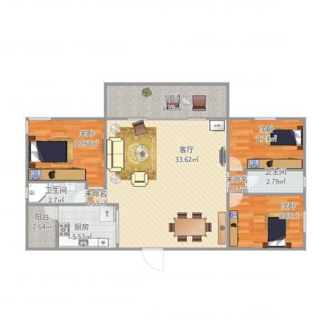怡翠宏璟4#16033室1厅2卫1厨115.00㎡户型图