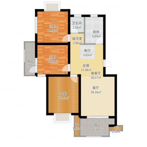 仙林诚品城3室2厅1卫1厨123.00㎡户型图