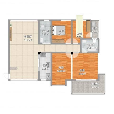 华盛世纪新城2室4厅1卫1厨140.00㎡户型图