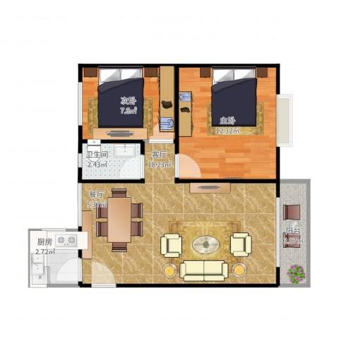 华宁花园2室2厅1卫1厨70.00㎡户型图