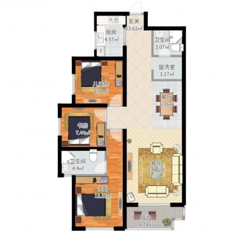 高新大都荟3室1厅2卫1厨123.00㎡户型图