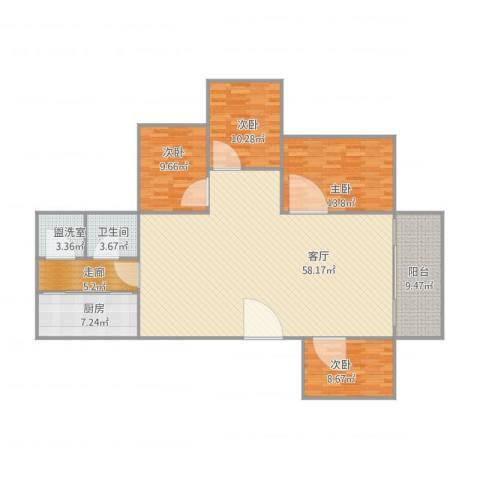 桂江楼4室3厅1卫1厨172.00㎡户型图