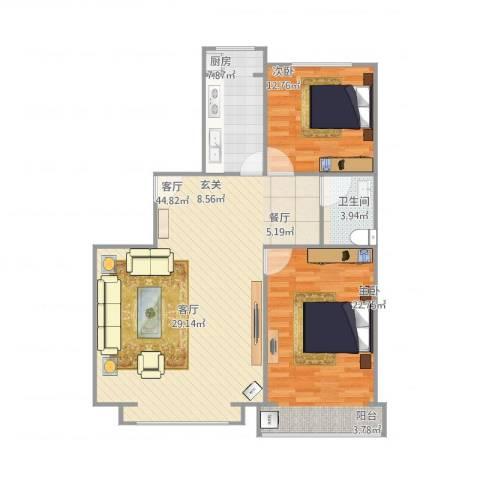金水豪庭2室1厅1卫1厨122.00㎡户型图