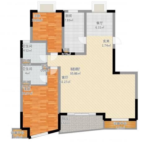 世纪东山2室2厅2卫1厨155.00㎡户型图