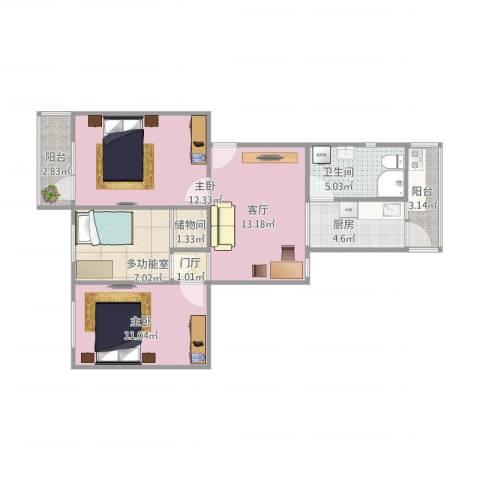 荣华里2室1厅1卫1厨84.00㎡户型图