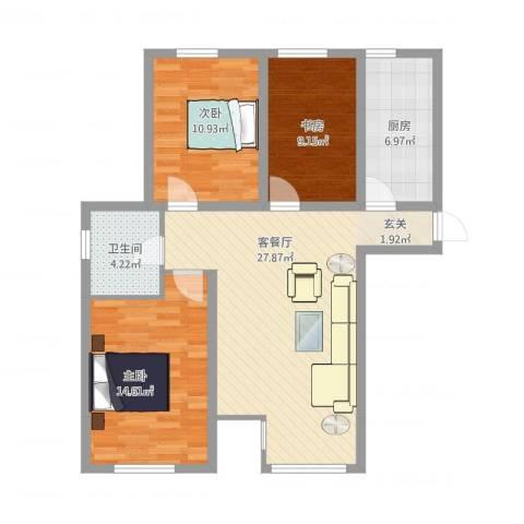 金色河畔3室2厅1卫1厨105.00㎡户型图