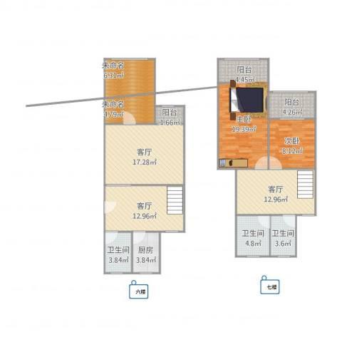 莱阳新家园2室3厅3卫1厨139.00㎡户型图