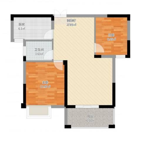 格林公馆2室2厅1卫1厨90.00㎡户型图