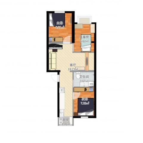 花家地南里3室1厅1卫1厨66.00㎡户型图