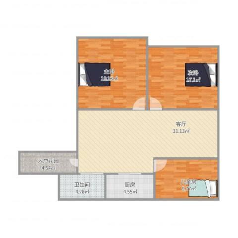 民东公寓3室1厅1卫1厨121.00㎡户型图