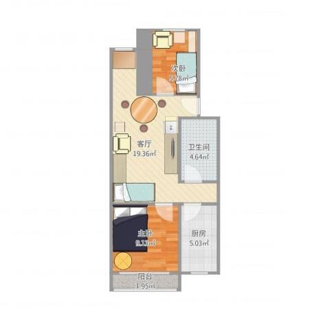 南太平庄北巷2室1厅1卫1厨65.00㎡户型图