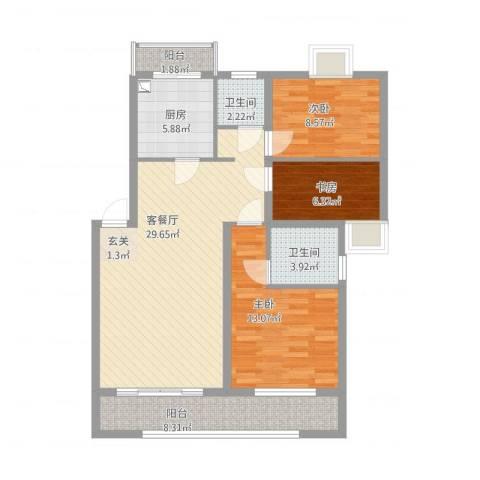 美丽嘉园3室2厅2卫1厨92.00㎡户型图