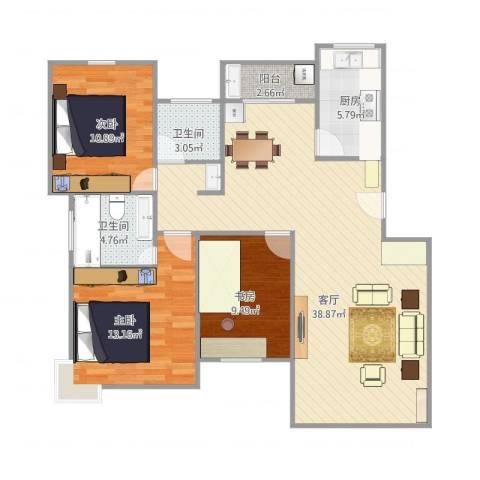 江南景苑3室1厅2卫1厨119.00㎡户型图