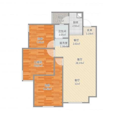 世豪广场3室1厅1卫1厨87.00㎡户型图