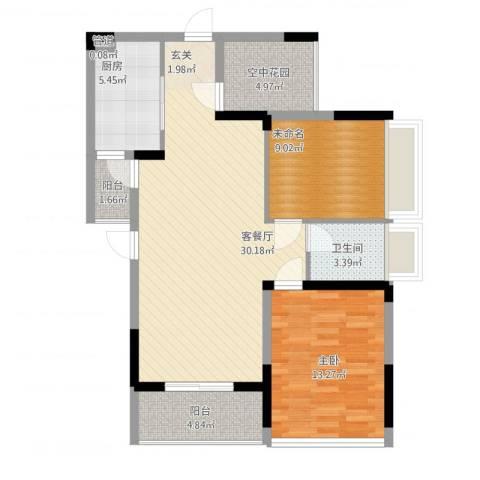 招商观园住宅1室2厅1卫1厨104.00㎡户型图