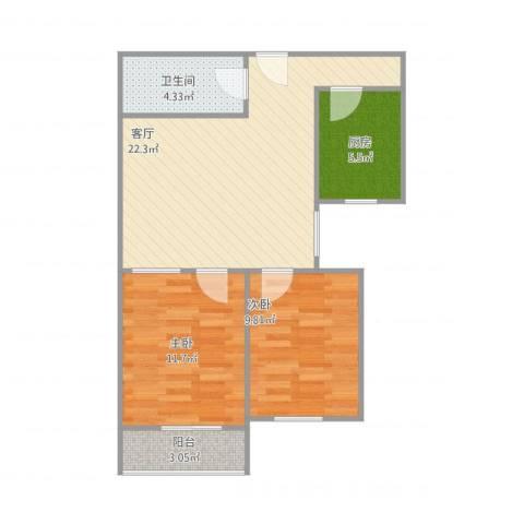 南湖中园一区2室1厅1卫1厨74.00㎡户型图