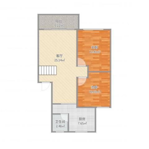 浦发绿城2079弄小区2室1厅1卫1厨79.00㎡户型图