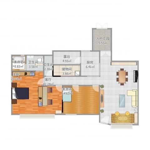 汇景新城上城勋堡1室1厅2卫1厨152.00㎡户型图