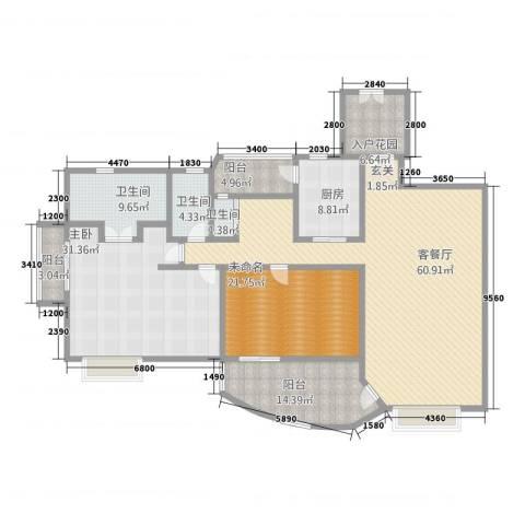 汇景新城上城勋堡1室2厅3卫1厨183.00㎡户型图
