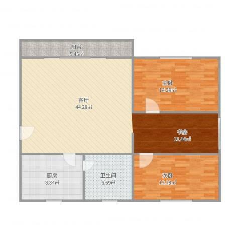 华翠苑2室1厅1卫1厨122.00㎡户型图