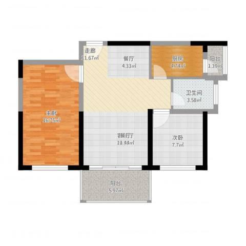 六和城2室2厅1卫1厨93.00㎡户型图