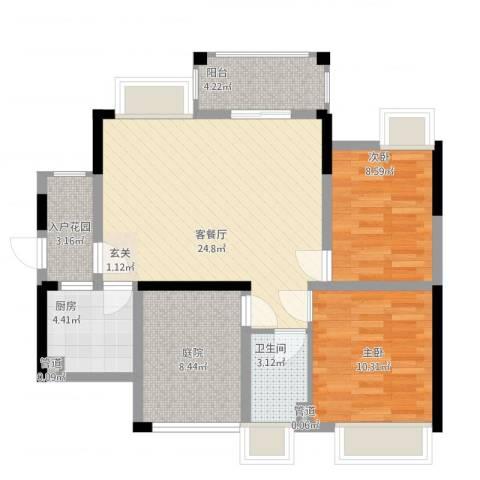 石排国际公馆2室2厅1卫1厨97.00㎡户型图