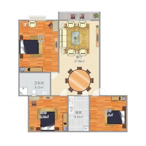 绿都如意湾3室1厅1卫1厨150.00㎡户型图