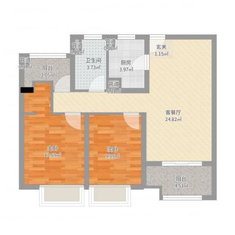 清华世界城2室2厅1卫1厨91.00㎡户型图